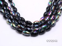 Wholesale 12x20mm Rice-shaped Black Faceted Crystal Beads Strings