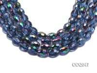 Wholesale 15x12mm Rice-shaped Blue Faceted Crystal Beads Strings