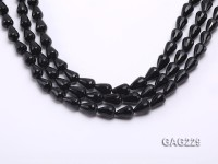 wholesale 8x12mm drip-shaped black faceted agate strings