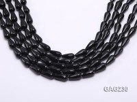 wholesale 8x16mm drip-shaped black faceted agate strings
