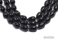 wholesale 18x25mm drip-shaped black faceted agate strings