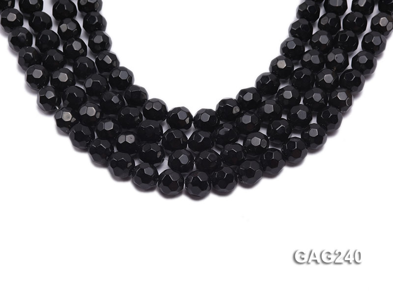 wholesale 10mm round black faceted agate strings