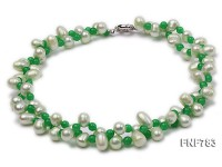 Two-strand 9x13mm Cultured Freshwater Pearl and 6mm Malaysian Jade Bead Necklace