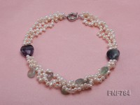 Three-Strand White Freshwater Pearl and Amethyst Beads Necklace