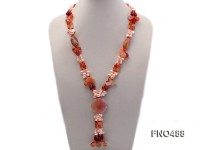 6-7mm pink side-drilled freshwater pearl with irregular agate opera necklace