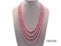 6.5-7.5mm light pink flat freshwater pearl opera necklace