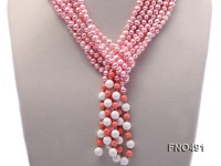 6-7mm flat freshwater pearl with pink coral opera necklace