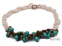 Two-strand White or Army-green Freshwater Pearl Necklace Dotted with Turquoise Beads and Biwa Pearls