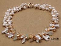 Two-strand 9x12mm White Freshwater Pearl Necklace with Crystal Pieces and Agate Beads