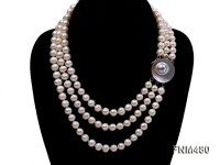 3 strnd 8-9mm white round freshwater pearl necklace with mabe clasp