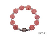 13-14mm white freshwater pearl and coral bracelet
