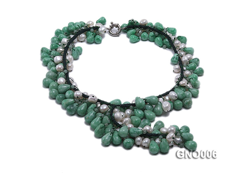 10x14mm Drip-Shaped Korean Jade and 8-9mm White Pearl Necklace