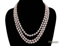 3 strand white oval freshwater pearl necklace with mabe clasp