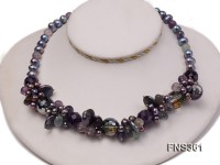 7-8mm black round freshwater pearl with amethyst crystal single strand necklace