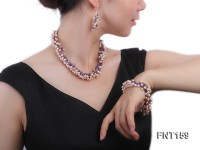 Pink Freshwater Pearl and Amethyst Chips Necklace, Bracelet and Earrings Set