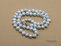7-8mm sky-blue flat shaped freshwater pearl single strand necklace