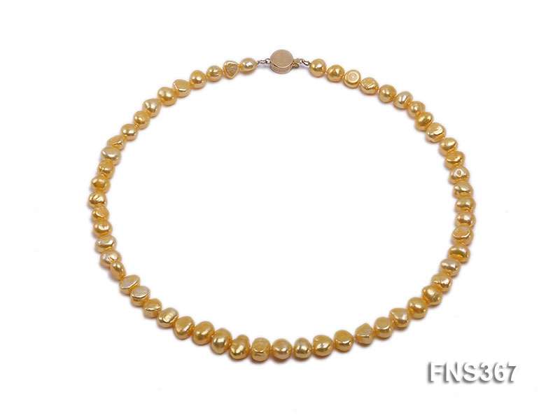 8mm gold flat freshwater pearl single strand necklace