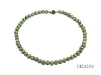 natural 7-8mm green flat shaped freshwater pearl single strand necklace