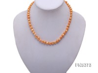 Natural 7-8mm yellow flat shaped freshwater pearl single strand necklace