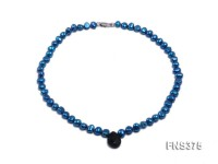 7-8mm marine blue freshwater pearl necklace with drip-shaped faceted black agate pendant