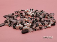 8-9mm natural white side-drilled freshwater pearl with amethyst and shell necklace