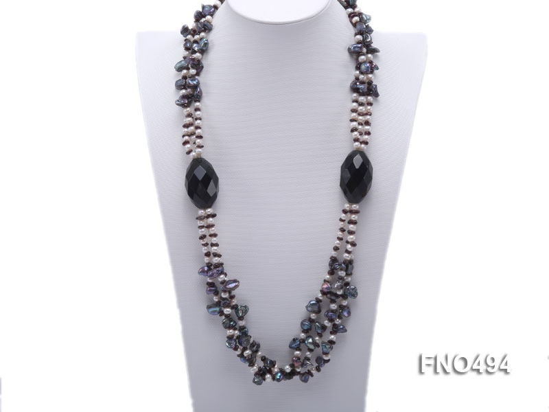 8-9mm black irregular freshwater pearl with oval agate and garnet necklace