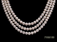 3 strand 6-7mm white flat freshwater pearl necklace