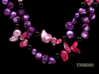 2 strand purple and pink freshwater pearl and agate necklace