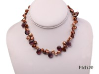 Classic 8x15mm Coffee Baroque Freshwater Pearl and Faceted Amethyst Beads Necklace