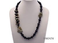 black agate and gemstone opera necklace