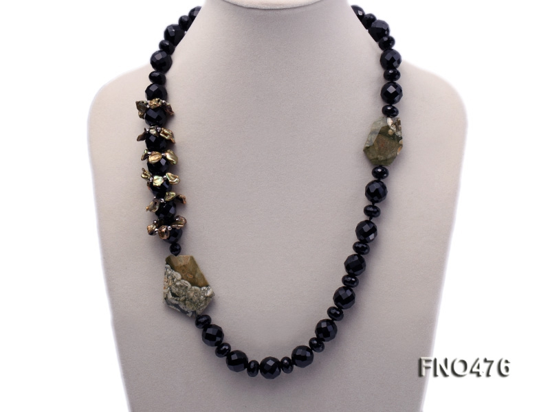 black agate and gemstone opera necklace