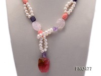 2 strand white freshwater pearl,crystal and pink coral opera necklace