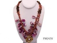 coffee freshwater pearl,dark pink seashell and tiger-eye stone opera necklace with pearl clasp