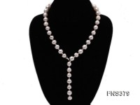 10-11mm natural white flat freshwater pearl with white crystal necklace
