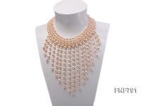 7-8mm Pink Oval Freshwater Pearl Necklace with Crystal Beads