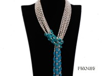 3 strand white oval freshwater pearl and bule turquoise opera necklace