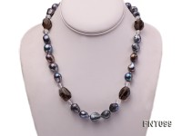 Black Baroque Freshwater Pearl & Crystal Beads Necklace and Earrings Set