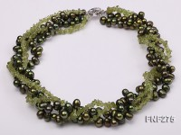 Four-strand Dark-Green Freshwater Pearl and Green Olivine Chips Necklace