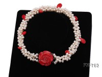 Three-strand White Freshwater Pearl Necklace with Red Seed-shaped Coral Beads
