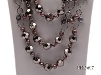 8-9mm grey baroque freshwater pearl with baking paint crystal necklace