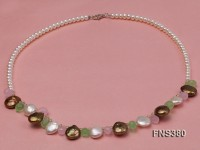 5-6mm natural white freshwater pearl with coin pearl and drop crystal necklace