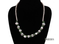 natural 5-6mm white freshwater pearl with white drop crystal necklace with sterling silver clasp