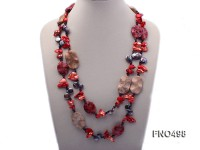 grey coin freshwater pearl with garnet and red gemstone opera necklace