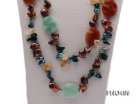 brown coin freshwater pearl with cirtine and gemstone opera necklace