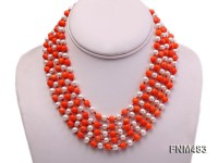 5 strand white freshwater pearl and orange coral necklace