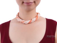 Multi-strand 4-5mm White Freshwater Pearl and 2.5mm Orange Coral Necklace