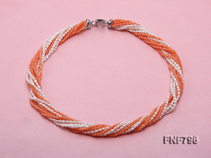 Multi-strand Pink Coral Beads and White Rice-shaped Freshwater Pearl Necklace