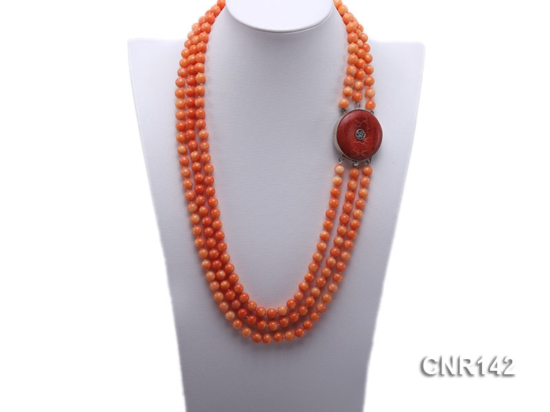 8mm Round Orange Coral Three-Strand Necklace with Sterling Silver Coral Clasp