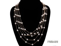 5 strand 7-8mm white round freshwater pearl necklace