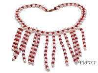 5-6mm White Freshwater Pearl and 5.5mm Red Coral Beads Necklace
